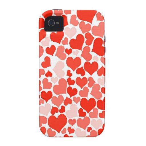 Papel pintado rojo de los corazones Case-Mate iPhone 4 carcasa