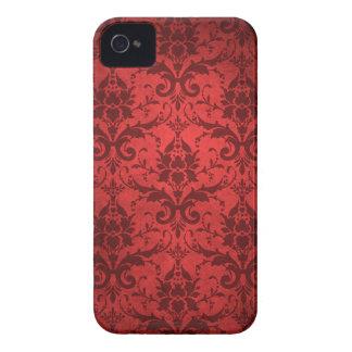 Papel pintado rojo del damasco del vintage iPhone 4 Case-Mate carcasas