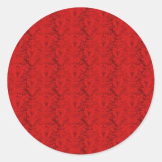 Papel pintado rojo del vintage pegatina redonda