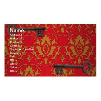 Papel pintado rojo y llaves del vintage tarjetas de visita