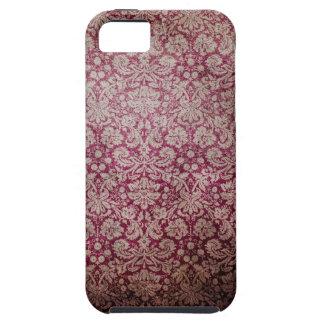 Papel pintado rosado oscuro del damasco del grunge funda para iPhone 5 tough