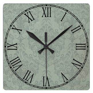 Papel pintado rústico gris del vintage del damasco reloj cuadrado
