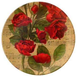 Papel pintado subió acuarela de la hoja de música plato de cerámica