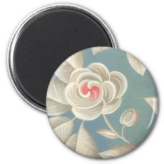 Papel pintado subió ojo rosado del vintage imán redondo 5 cm