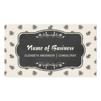 Papel pintado y pizarra florales color de rosa tarjetas de visita