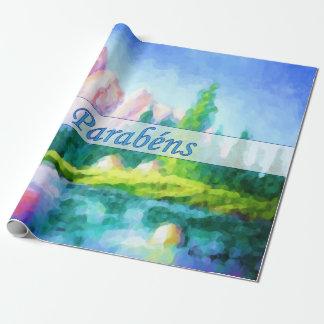 Papel portugués del abrigo de la montaña del rosa papel de regalo