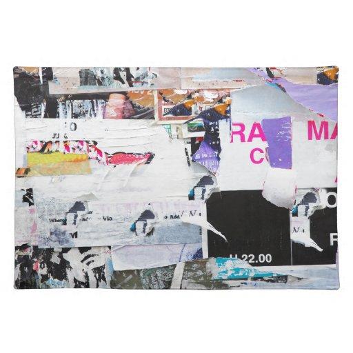 Papel rasgado estilo de Banksy de la pared de la p Mantel Individual