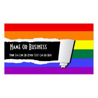 Papel rasgado orgullo del arco iris (efecto) tarjetas de visita