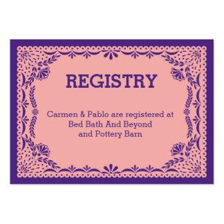 Papel registro rosado y púrpura de Picado del boda Tarjetas De Visita Grandes