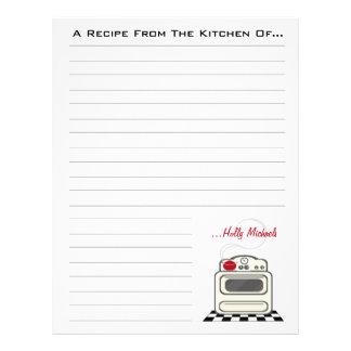 Papel rojo de la receta de la cocina de la estufa membrete a diseño