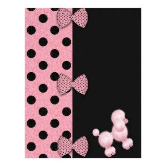 Papel rosado del libro de recuerdos del caniche membretes personalizados