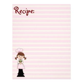 Papel rosado joven de la receta del cocinero plantillas de membrete