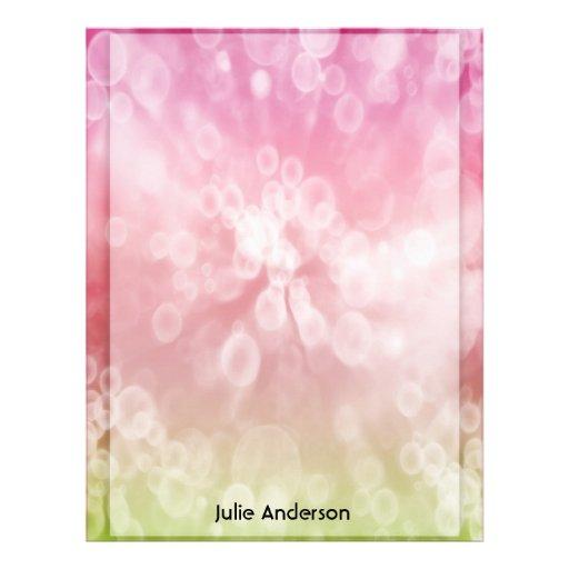 Papel rosado/verde de los efectos de escritorio de plantilla de membrete