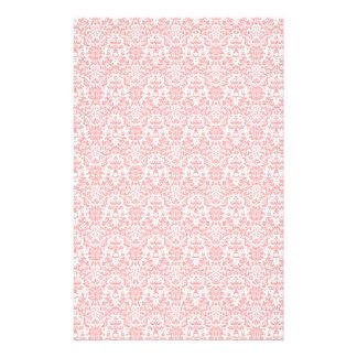 Papel rosado y blanco del arte del damasco papeleria personalizada