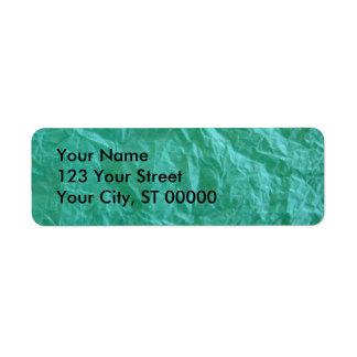 Papel seda arrugado verde etiquetas de remite