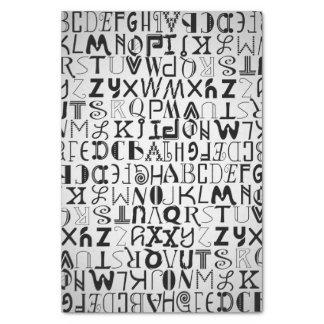 Papel seda unisex de la tipografía del alfabeto papel de seda pequeño