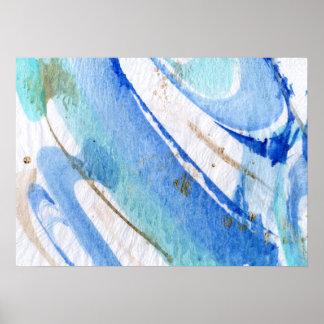 Papel texturizado acuarela abstracta de los azules póster