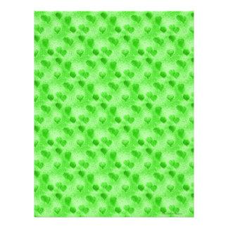 Papel verde del libro de recuerdos del corazón membrete
