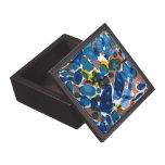 Papel veteado del azul cajas de recuerdo de calidad