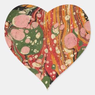 Papel veteado del extracto pegatina en forma de corazón