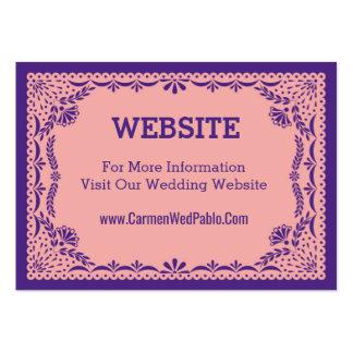Papel Web site rosado y púrpura de Picado del boda Tarjetas De Visita Grandes
