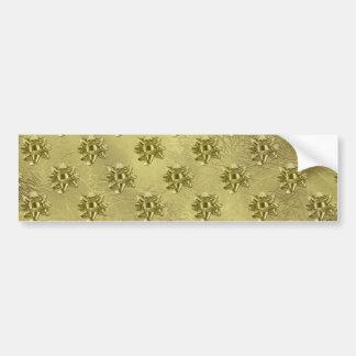 Papel y arcos del navidad de la hoja de oro etiqueta de parachoque