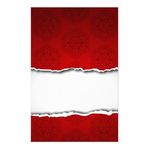 Papel y modelos rasgados rojos papelería