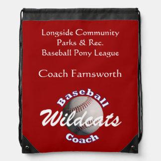 Papeleo del equipo del entrenador de béisbol mochilas