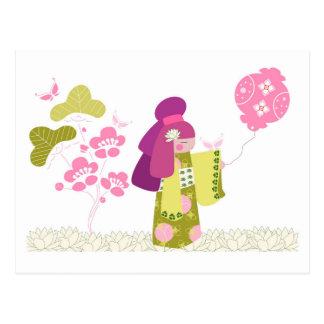 Papelería Muñeca japonesa Tarjeta Postal