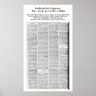 Papeles, no. 10 y no. federalistas 51 (1787-1788) póster