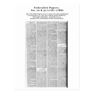 Papeles, no. 10 y no. federalistas 51 (1787-1788) postal