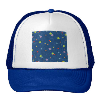 paper033 COLORFUL GRUNGE STAR SHAPES BLUE NIGHT SK Trucker Hat