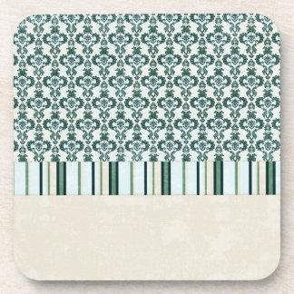paper04 SCRAPBOOKING LIGHT BLUE CREAM TAN SCROLL D Coasters