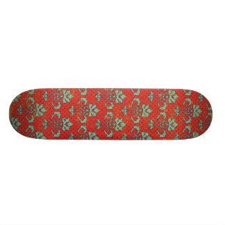 paper050 RED SCROLL LIGHT GREEN DECORATIVE BACKGRO Skateboard