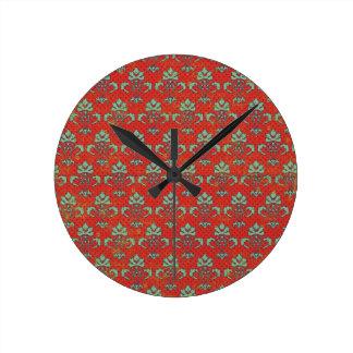 paper050 VOLUTA ROJA BACKGRO DECORATIVO VERDE CLAR Reloj De Pared