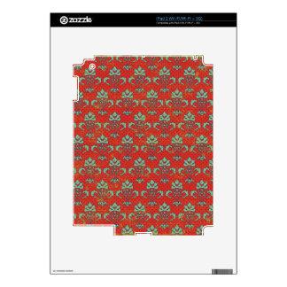 paper050 VOLUTA ROJA BACKGRO DECORATIVO VERDE CLAR iPad 2 Calcomanía
