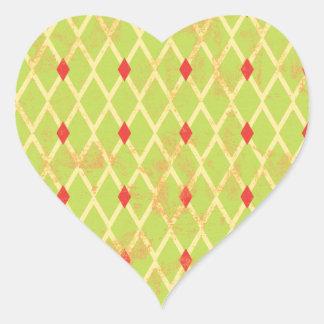 paper084 DIAMOND ARGYLE SPRING GREEN YELLOW RED P Heart Sticker