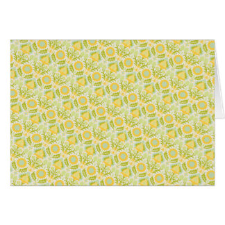 PAPER088 YELLOW GREEN CREAM FLORAL FLOWERS PATTERN GREETING CARD