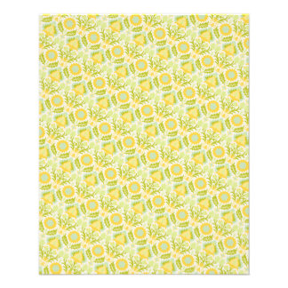 PAPER088 YELLOW GREEN CREAM FLORAL FLOWERS PATTERN PERSONALIZED FLYER