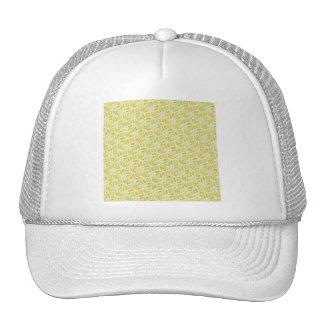 PAPER088 YELLOW GREEN CREAM FLORAL FLOWERS PATTERN TRUCKER HAT