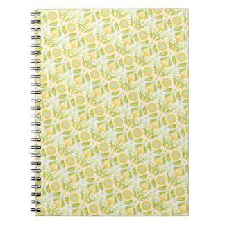 PAPER088 YELLOW GREEN CREAM FLORAL FLOWERS PATTERN NOTEBOOK