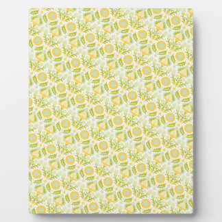 PAPER088 YELLOW GREEN CREAM FLORAL FLOWERS PATTERN PLAQUE