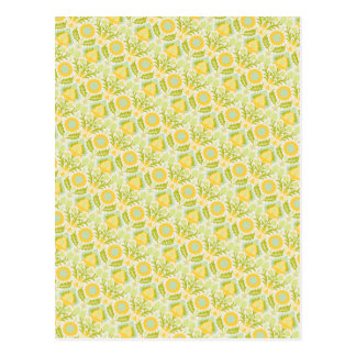 PAPER088 YELLOW GREEN CREAM FLORAL FLOWERS PATTERN POST CARDS