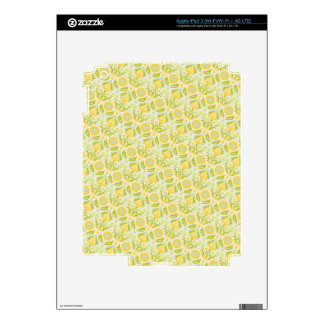 PAPER088 YELLOW GREEN CREAM FLORAL FLOWERS PATTERN iPad 3 SKINS