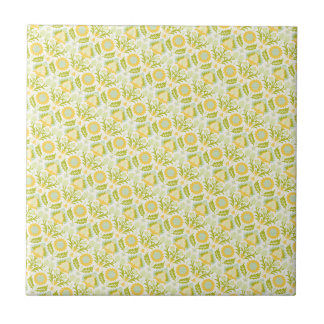 PAPER088 YELLOW GREEN CREAM FLORAL FLOWERS PATTERN TILES