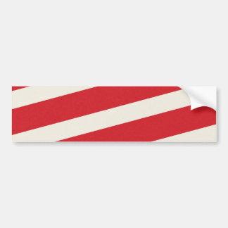 PAPER092 RED CREAMY WHITE CANDY CANDYCANE STRIPES BUMPER STICKER