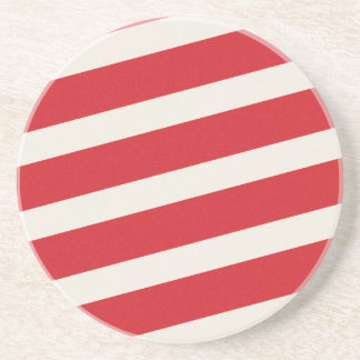 PAPER092 RED CREAMY WHITE CANDY CANDYCANE STRIPES DRINK COASTER