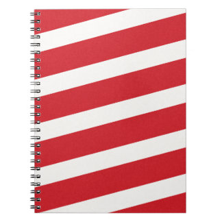 PAPER092 RED CREAMY WHITE CANDY CANDYCANE STRIPES NOTEBOOK