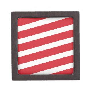 PAPER092 RED CREAMY WHITE CANDY CANDYCANE STRIPES PREMIUM JEWELRY BOX
