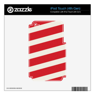 PAPER092 RED CREAMY WHITE CANDY CANDYCANE STRIPES iPod TOUCH 4G DECAL